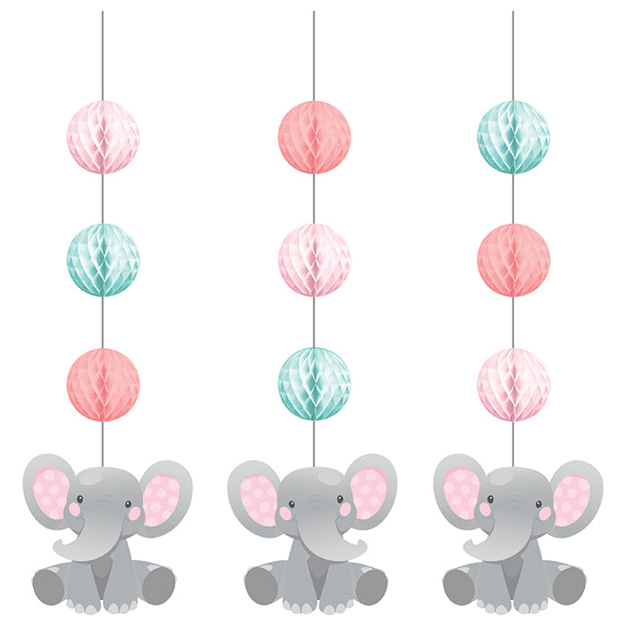Enchanting Elephants Girl Hanging Cutouts W/ Honeycomb 3ct by Creative Converting