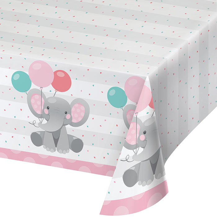 "Enchanting Elephants Girl Paper Tablecover 54"" X 102"" by Creative Converting"