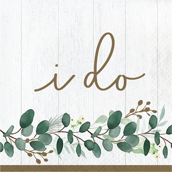Eucalyptus Greens Luncheon Napkin, I Do 16ct by Creative Converting