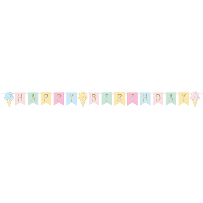 Ice Cream Party Shaped Banner W/ Ribbon, Foil by Creative Converting