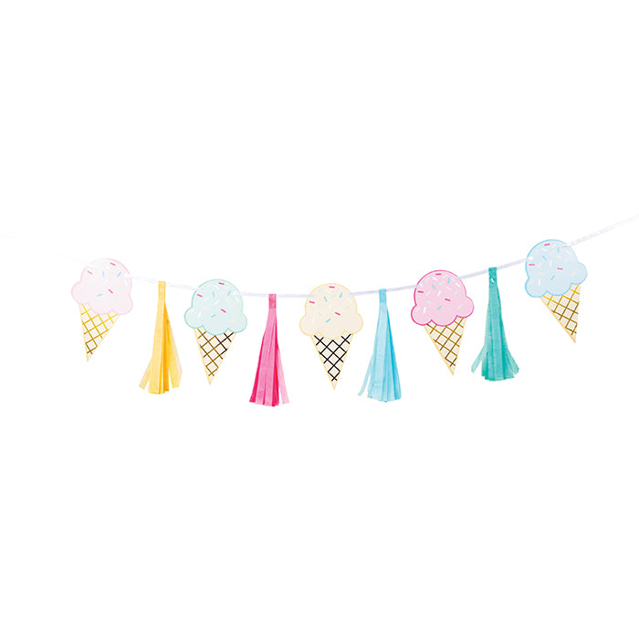 Ice Cream Party Tassle Banner W/ Ribbon, Foil by Creative Converting