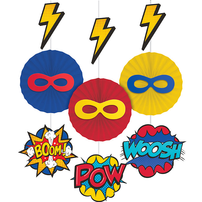 Superhero Party Hanging decorations W/ Cutouts And Paper Fan 3ct by Creative Converting