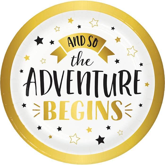 Grad Adventure Luncheon Plate, Adventure Begins 8ct by Creative Converting