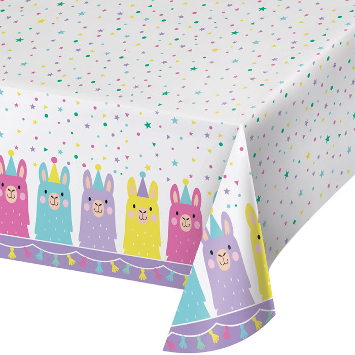 "Llama Party Plastic Tablecover All Over Print, 54"" X 102"" by Creative Converting"
