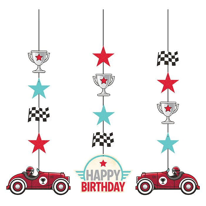 Vintage Race Car Hanging Cutouts 3ct by Creative Converting