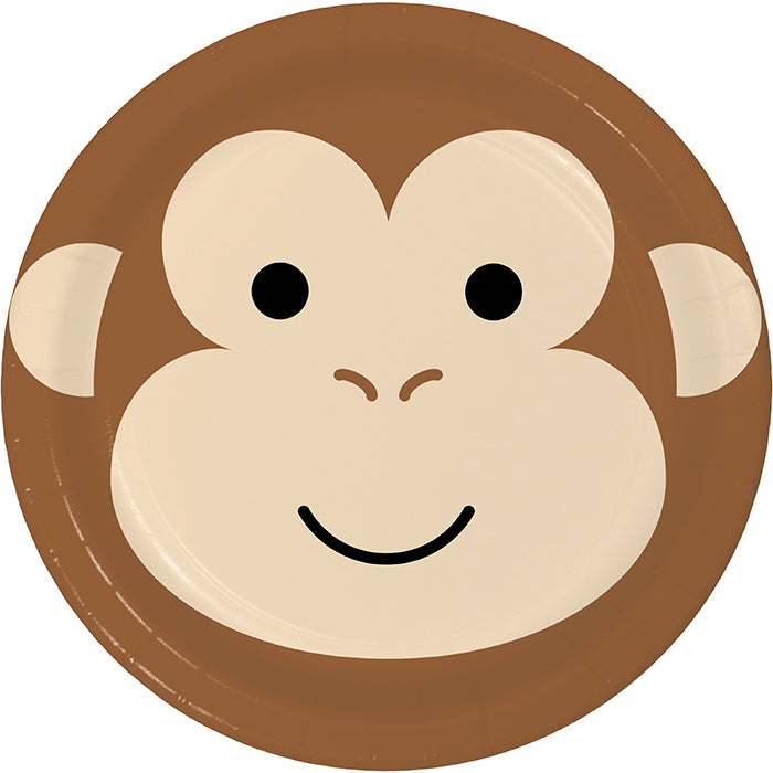 Animal Faces Luncheon Plate, Monkey 8ct by Creative Converting