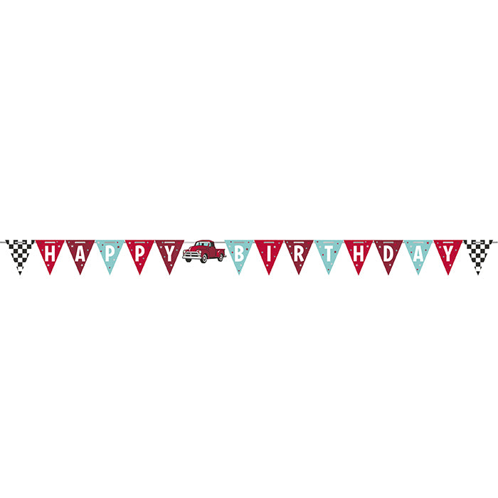 Vintage Red Truck Shaped Banner With Ribbon by Creative Converting