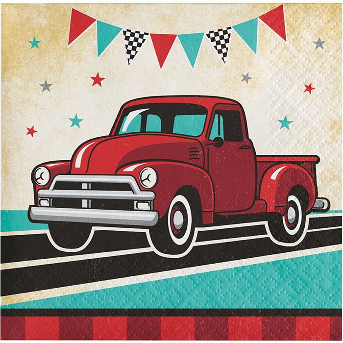 Vintage Red Truck Beverage Napkins 16ct by Creative Converting