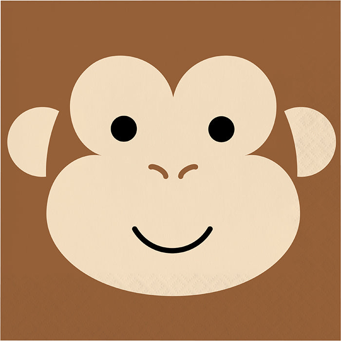 Animal Faces Luncheon Napkin, Monkey 16ct by Creative Converting