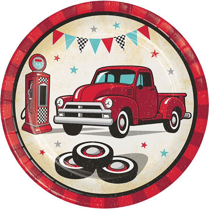Vintage Red Truck Luncheon Plate 8ct by Creative Converting