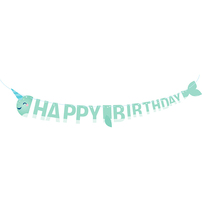 Narwhal Party Shaped Banner With Ribbon by Creative Converting
