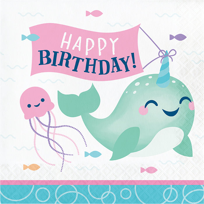 Narwhal Party Luncheon Napkin, Happy Birthday 16ct by Creative Converting