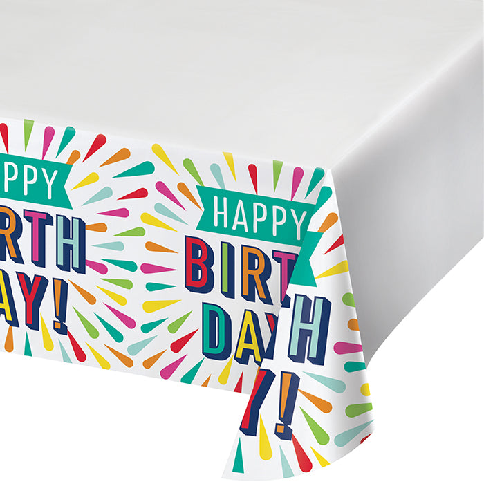 "Birthday Burst Paper Tablecover Border Print 54"" X 102"" by Creative Converting"