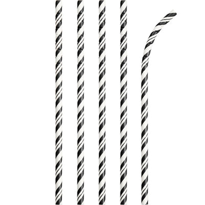 Black Striped Paper Straws, 24 ct by Creative Converting