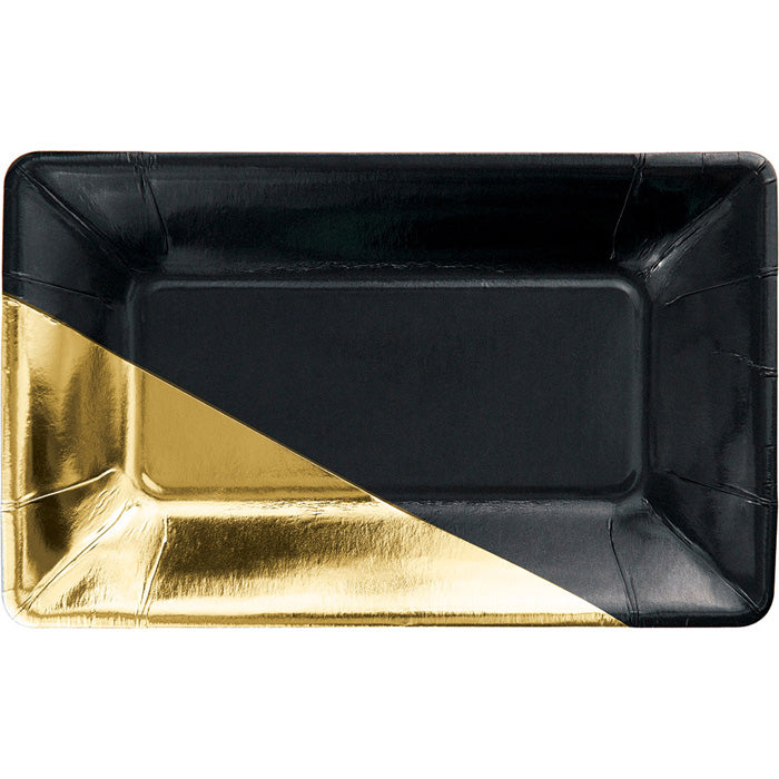 Black And Gold Foil Rectangular Paper Plates By Elise, 8 ct by Creative Converting