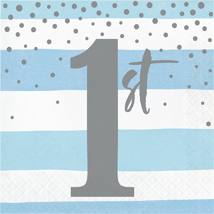 Blue Silver Celebration Luncheon Napkin, 1St Birthday 16ct by Creative Converting