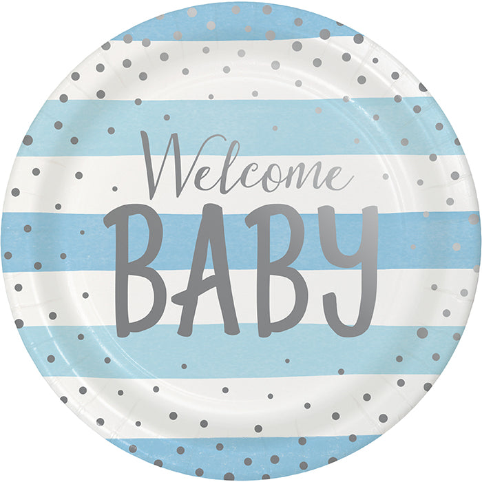 Blue Silver Celebration Dinner Plate, Foil, Welcome Baby 8ct by Creative Converting