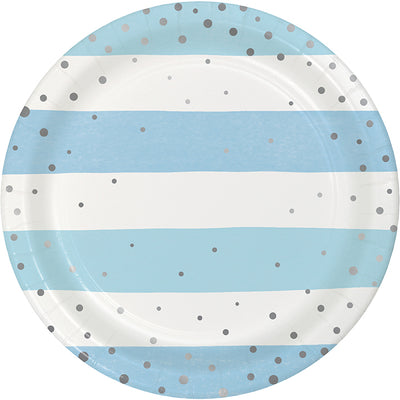 Blue Silver Celebration Luncheon Plate, Foil 8ct by Creative Converting