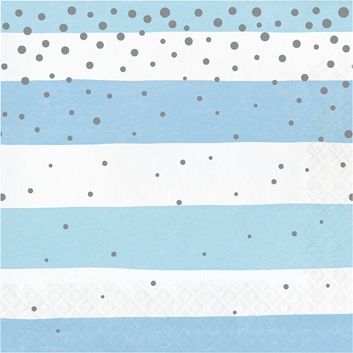 Blue Silver Celebration Luncheon Napkin, Stripes 16ct by Creative Converting