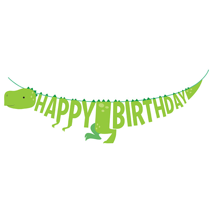 Boy Dino Party Shaped Banner W/ Ribbon by Creative Converting