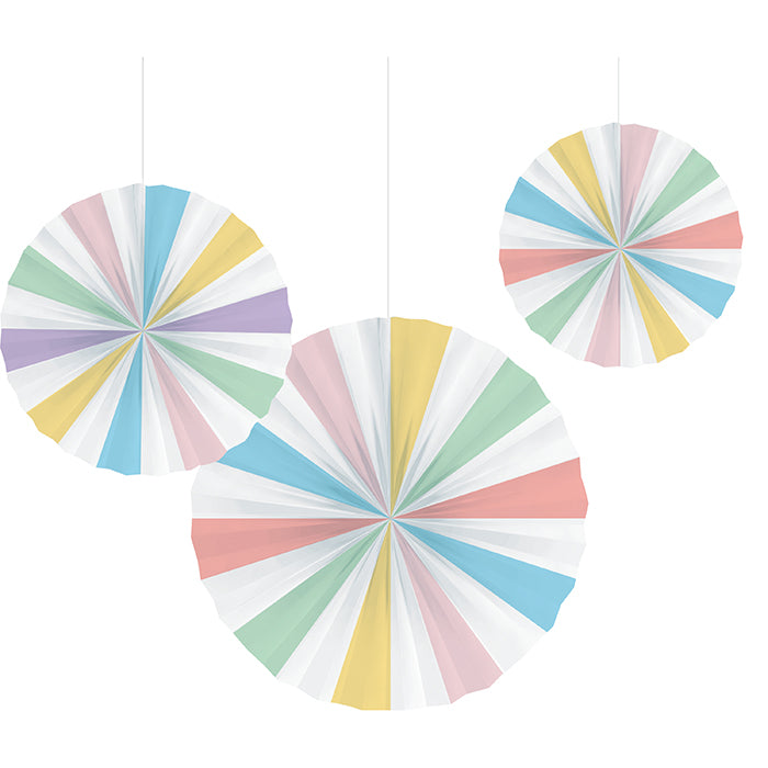 "Pastel Celebrations Paper Fans, 16"", 12"", 10"" 3ct by Creative Converting"