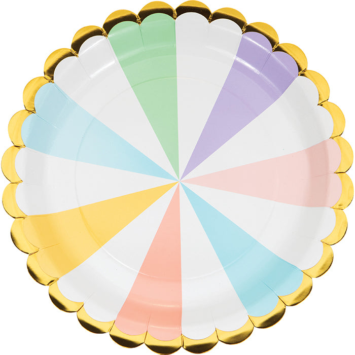 Pastel Celebrations Dinner Plate, Scallop Shaped, Foil 8ct by Creative Converting