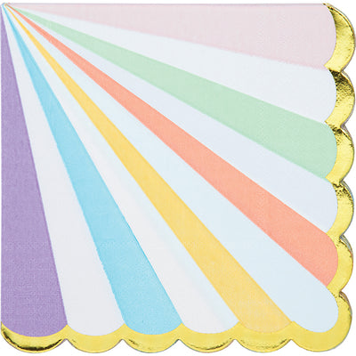 Pastel Celebrations Luncheon Napkin, Scallop Shaped, Foil 16ct by Creative Converting