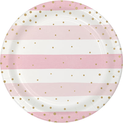 Pink Gold Celebration Dinner Plate, Foil, Stripes 8ct by Creative Converting