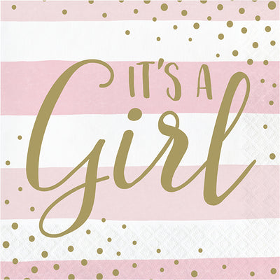 Pink Gold Celebration Luncheon Napkin, It's A Girl 16ct by Creative Converting