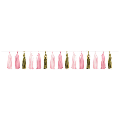 Pink Gold Celebration Tassel Garland, Pink/Gold by Creative Converting