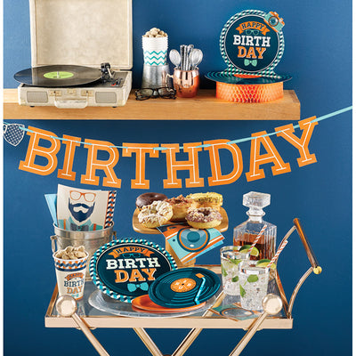 "Hipster Birthday Paper Tablecover 54"" X 102"" Party Supplies"