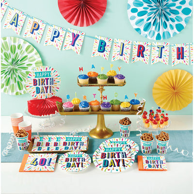 "Birthday Burst Paper Tablecover Border Print 54"" X 102"" Party Supplies"