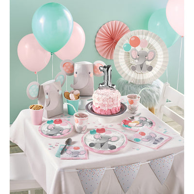 Enchanting Elephants Girl Metallic Balloon Party Supplies
