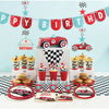 Vintage Race Car Shaped Banner With Ribbon Party Supplies