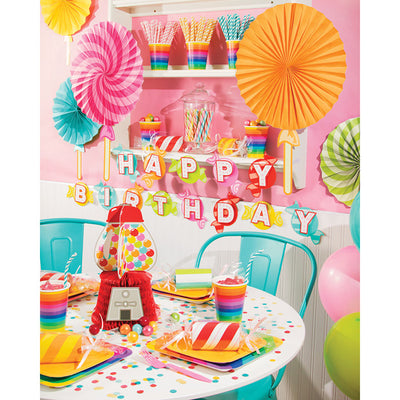 Candy Shop Party Shaped Dimensional Banner W/ Ribbon Party Supplies