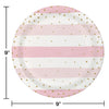 Pink Gold Celebration Dinner Plate, Foil, Stripes 8ct Party Decoration