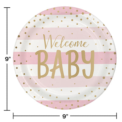 Pink Gold Celebration Dinner Plate, Foil, Welcome Baby 8ct Party Decoration