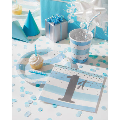 Blue Silver Celebration Luncheon Plate, Foil 8ct Party Supplies