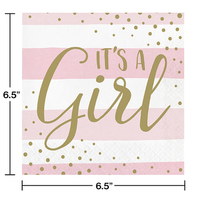 Pink Gold Celebration Luncheon Napkin, It's A Girl 16ct Party Decoration