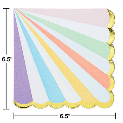Pastel Celebrations Luncheon Napkin, Scallop Shaped, Foil 16ct Party Decoration