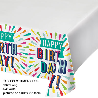 "Birthday Burst Paper Tablecover Border Print 54"" X 102"" Party Decoration"