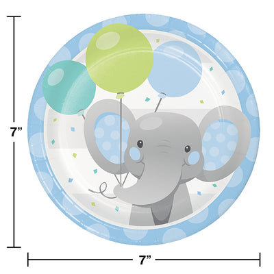 Enchanting Elephants Boy Luncheon Plate 8ct Party Decoration