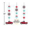 Vintage Red Truck Hanging Cutouts 3ct Party Decoration