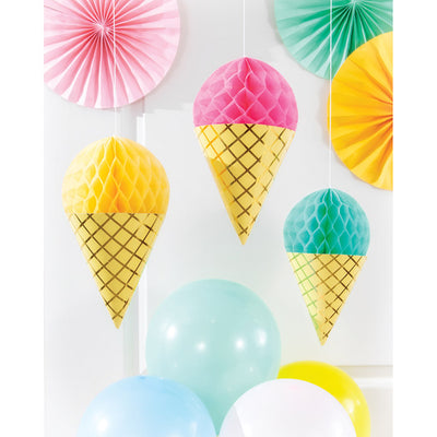 Ice Cream Party Hanging Honeycomb, Foil 3ct Party Supplies