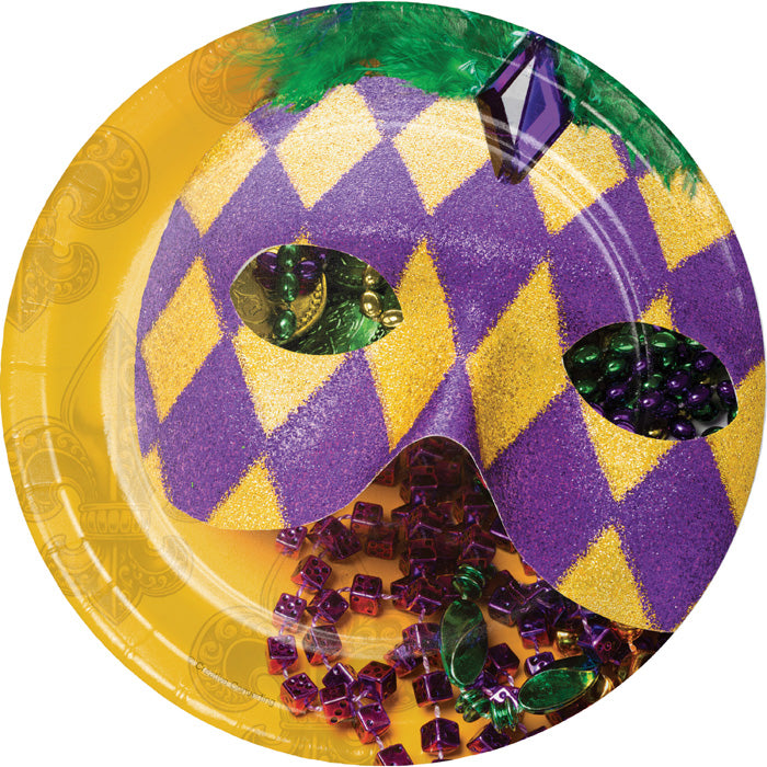 Masks Of Mardi Gras Dessert Plates, 8 ct by Creative Converting