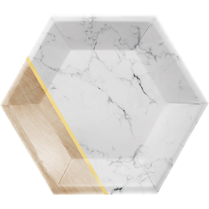 "Dessert Plate, 8"" Hexagon, Marble, 8 ct by Creative Converting"
