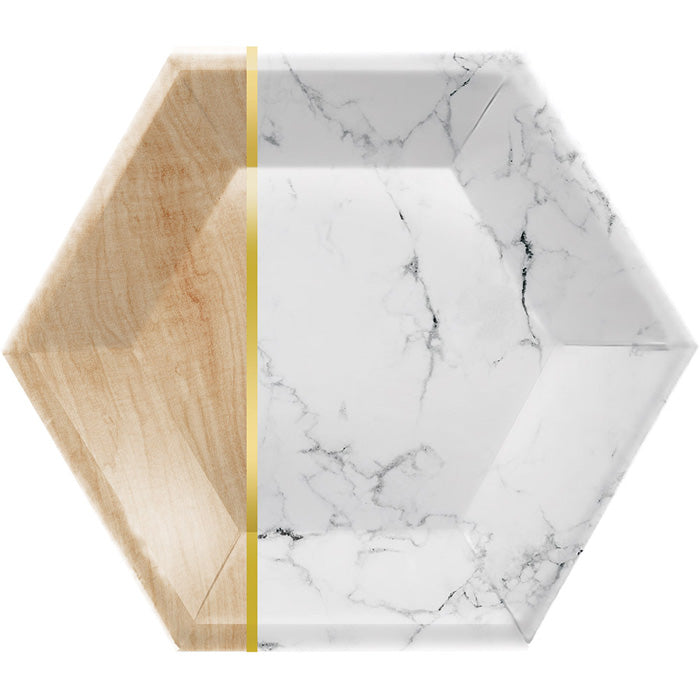 "Marble Banquet Plate, 10"" Hexagon, Marble, 8 ct by Creative Converting"