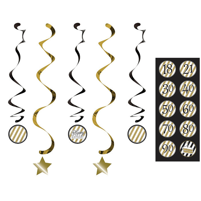 Black And Gold Dizzy Danglers, 5 ct by Creative Converting