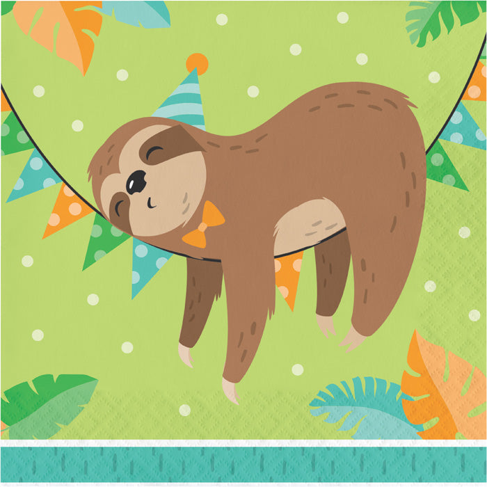 Sloth Party Napkins, Pack Of 16 by Creative Converting