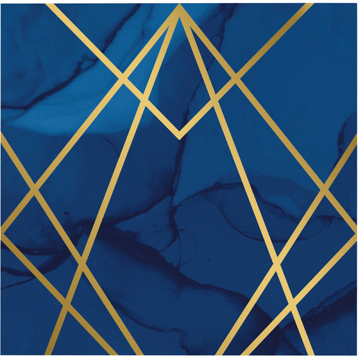 Navy Blue And Gold Foil Napkins, Pack Of 16 by Creative Converting